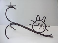 Vintage wrought iron cat,candle holder,handmade by GraceVintageDesigns on Etsy