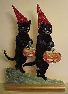 black cats red hats treating halloween decoration vtg postcard image ebay