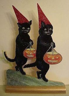 BLACK CATS, RED HATS, TREATING ~ HALLOWEEN Decoration ~ Vtg Postcard Image   eBay