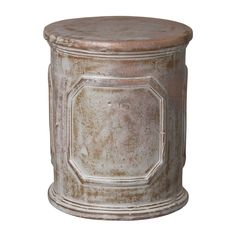 Audrey Round Garden Stool/Table with a Distressed White Glaze - Seven Colonial Ceramic Stool, Ceramic Garden Stools, Composite Adirondack Chairs, Round Stool, Small Accent Chairs, Patio Accessories, Kiln Dried Wood, Wood Species, White Ceramics