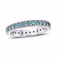 1 Ct Enhanced Blue D/VVS1 Diamond Milgrain Eternity Band Ring 14K White Gold by JewelryHub on Opensky