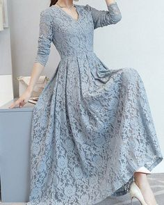Lace Hollow Out Solid Color A-Line Dresses Stylish Dress Designs, Stylish Dresses, Simple Dresses, Women's Fashion Dresses, Beautiful Dresses, Casual Dresses, Dress Brukat, Hijab Dress Party, Lace Dress