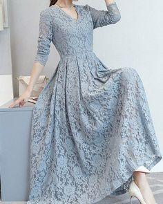 Lace Hollow Out Solid Color A-Line Dresses Dress Brukat, Hijab Dress Party, Lace Dress, Lace Maxi, Simple Dresses, Elegant Dresses, Beautiful Dresses, Casual Dresses, Indian Gowns Dresses
