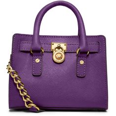 Mini Hamilton Messenger - MICHAEL Michael Kors ($168) ❤ liked on Polyvore featuring bags, messenger bags, bolsas, purses, michael michael kors tote, mini tote bags, handbags totes, purple tote bags and mini tote