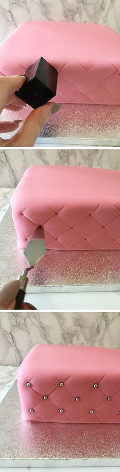 How to Create a Super Simple Quilted Effect - 17 Amazing Cake Decorating Ideas, . How to Create a Super Simple Quilted Effect - 17 Amazing Cake Decorating Ideas, Tips and Tricks That'll Make You A Pro Cake Icing, Fondant Cakes, Eat Cake, Cupcake Cakes, Simple Fondant Cake, Buttercream Frosting, Fondant Tips, Icing Tips, Party Cupcakes