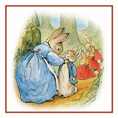 Peter Rabbit and Family on a Family Walk inspired by Beatrix Potter Counted Cross Stitch or Counted Needlepoint Pattern