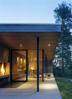 Fireplace deck at night