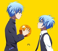 "Ansatsu Kyoushitsu Nagisa, and Kuroko no Basuke ""Kuroko"" meet, oh, so cute. I Love Them :D"