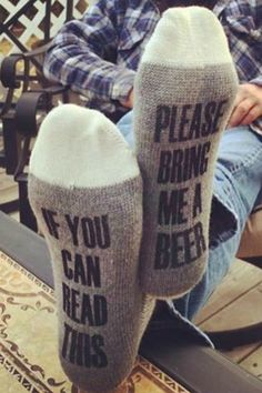 Found the Perfect gift for my guy!!  Bring me a beer socks!