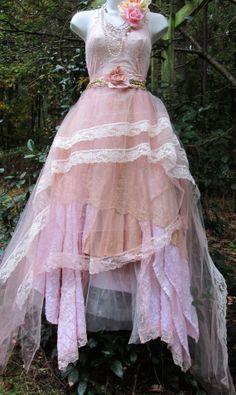 Blush lace dress tulle  wedding beaded bridesmaid rose boho  vintage  romantic small by vintage opulence on Etsy