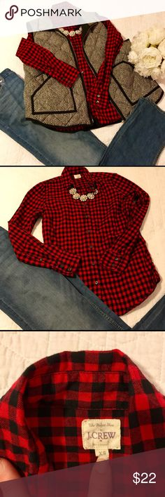 545d11c1b73 Crew red and black plaid shirt - XS ❤ Classic plaid long sleeve shirt that  pairs well with any outfit!Crew Factory Tops Button Down Shirts