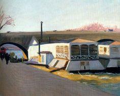 Reproduction de Hopper, Les lavoirs a pont-royal. Tableau peint à la main dans nos ateliers. Peinture à l'huile sur toile.