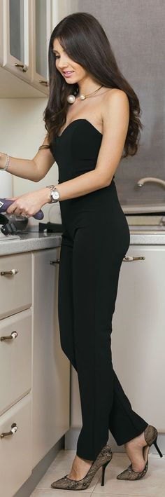 Black Off Shoulder Night Out Jumpsuit