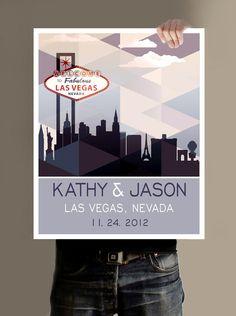 Personalized Wedding Print, Las Vegas Wedding -16X20