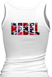 Southern Sisters Designs - Rebel Flag Women's Tank Top With Word Rebel - white, $14.95 (http://www.southernsistersdesigns.com/rebel-flag-womens-tank-top-with-word-rebel-white/)