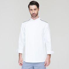 Fashion Restaurant Hotel Kitchen Chef Coats Jackets Uniform High-grade Long Sleeves White Contrast Black Color Unisex
