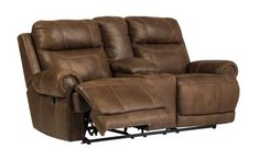 Austere Brown Double Rec Loveseat with Console