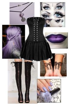 """""""OOTD: Pastel Goth"""" by halojinxx14 ❤ liked on Polyvore featuring Jeffrey Campbell"""