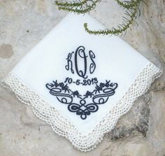 The bride will carry this lovely wedding handkerchief wrapped around her bouquet for her wedding today in Irvine, CA.  Congratulations to the Bride & Groom!