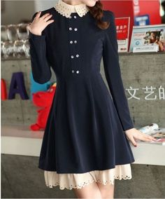 kawaii dark blue dress with different color