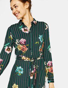 Printed shirt dress - New - Bershka United Kingdom
