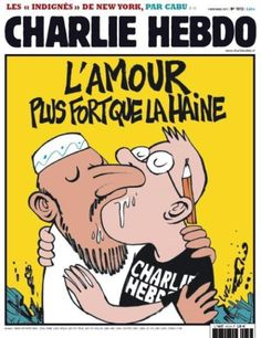 """In 2011, Charlie Hebdo's office was firebombed, after it featured a front-page cartoon of the Prophet together with the words, """"100 lashes if you don't die of laughter.""""  The cover of the following week's issue had a drawing of two men kissing, one a bearded Muslim and the other a cartoonist for Charlie Hebdo. The caption: """"Love is stronger than hate."""""""