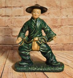 Gilner Pottery Asian Man with Black Hat Green Figurine Vintage California