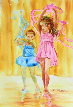 Ballet Fun was painted in watercolor to record my niece at her recital spinning with ribbons.