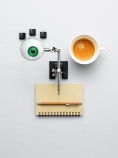 Payex campaign.  Keywords: face, still life, still life photography, set design, ordinary things, coffee, espresso, eye,