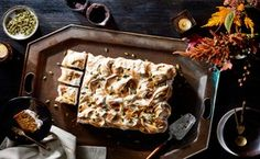 Pumpkin and Speculoos Sheet Cake with Meringue / Photo by Chelsea Kyle, Prop Styling by Jerri Joy, Food Styling by Anna Hampton
