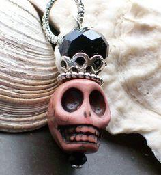Sugar Skull Pendant Charm by VivaGailBeads on Etsy, $6.60