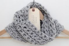 Light Gray Chunky Handmade Cowl (Infinity Scarf) on Etsy! (more colors available.. and coming soon!)