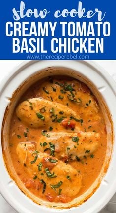This Slow Cooker Creamy Tomato Basil Chicken is SO easy and flavorful, you wouldn't believe it only has just a few ingredients! The perfect easy dinner recipe for busy weeknights! #chicken #chickenbreast #slowcooker #crockpot #dinner | crockpot chicken recipe | slow cooker chicken | chicken breast recipe | chicken breasts | easy dinner ideas | crockpot meals