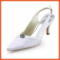 Minishion TMZ338 Women's Slingback Ivory Satin Bridal Wedding Evening Formal Party Pumps Shoes US Size 10 - Pumps for women (*Amazon Partner-Link)