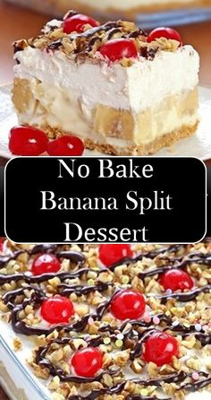 🍰🍰🍰 Nо Bаkе Banana Split Dеѕѕеrt >> >> for parties, 🍰🍰🍰 Nо Bаkе Banana Split Dеѕѕеrt >> >> Köstliche Desserts, Delicious Desserts, Banana Split Dessert, Baked Banana, Muffins, Banana Recipes, Savoury Cake, Food Cakes, Desert Recipes
