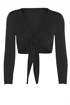f4d455b4471d45 Womens Tie Knot Shrug Short Ladies Crop Cardigan Wrap Bolero Top Plus Size 8-22:  Amazon.co.uk: Clothing