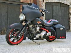 HD Flat Black - custom, bike, red rims, harley