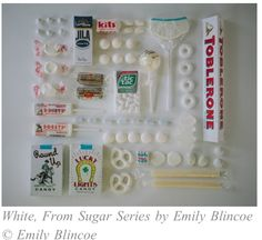 """""""Colors Organized Neatly,"""" is an ongoing photo series by photographer Emily Blincoe, all candy and sweets were stored and arranged by color. All Candy, Candy Art, Candy Shop, Paleta Pantone, Comida Picnic, Things Organized Neatly, Toblerone, Japanese Sweets, White Aesthetic"""