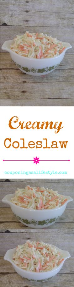 Creamy delicious coleslaw that is quick and easy to make.  Sweet, creamy and very addictive!