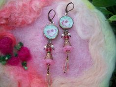 More beautiful jewelry created by my Sis!  Broken China Mosaic Tile Earrings by GratefulBeads on Etsy, $30.00