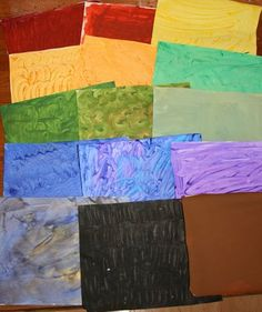 I love this idea!  The teacher paints the colors (ahead of time so they're dry) and the kids cut out their shapes for a cool Eric Carle look.