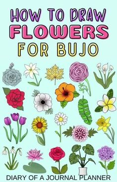 Make your bullet journal look awesome with this ultimate guide to drawing flowers.and plants! #bulletjournaldoodles #doodling #howtodraw Easy Flower Drawings, Flower Drawing Tutorials, Drawing Flowers, Easy Drawings, Drawing Ideas, Bujo Doodles, Love Doodles, Simple Doodles, Bullet Journal Mood