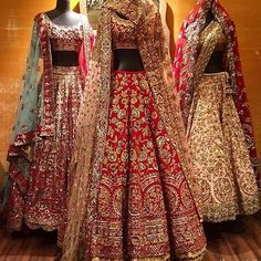 One of my favorites at Vogue Wedding Show This red heavy embroidered bridal lehenga is from Manish Malhotra
