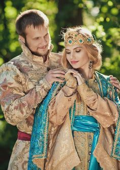 A bride and a groom in the old Russian style. #weddings