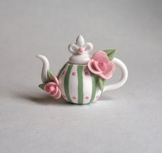 Miniature Stripe and Blossom Teapot OOAK by C. by ArtisticSpirit