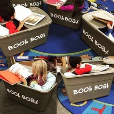 Book boat flexible seating - great for sensory kids too Not sure how practical this would be but nice idea! Classroom Design, Preschool Classroom, Future Classroom, Classroom Themes, Classroom Organization, Classroom Management, Classroom Reading Area, Kindergarten Reading Corner, Classroom Libraries
