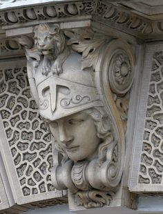 "A good site of illustrations of ""Architectural Lion Head Sculptures"" - Bob Speel's Website Architectural Sculpture, Architectural Antiques, Art Nouveau, Sculpture Art, Sculptures, Stone Statues, Green Man, Art Deco Design, Stone Carving"