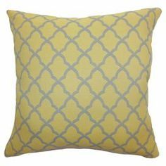 """Made in Boston, Massachusetts, this chic cotton pillow pairs a classic trellis motif with a bright yellow hue.   Product: PillowConstruction Material: Cotton cover and high fiber polyester fillColor: Yellow and greyFeatures:  Insert includedHidden zipper closureMade in Boston Dimensions: 18"""" x 18""""Cleaning and Care: Spot clean"""