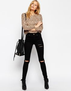 Image 4 ofASOS PETITE Ridley Skinny Jeans in Black with Thigh Rip and Busted Knees