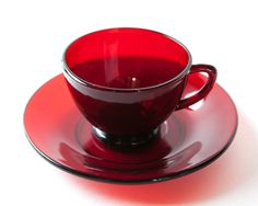 Red Ruby Glass5 cups and saucers mug coffee tea by AlbertsAttic